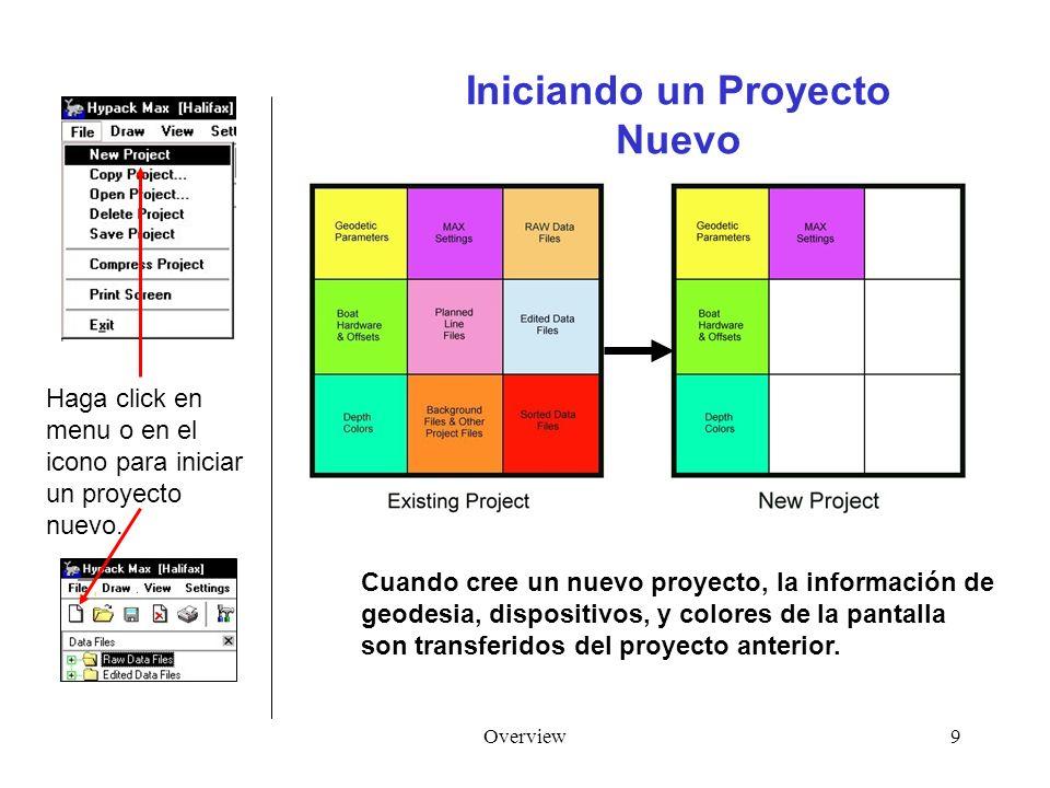 Overview9 Iniciando un Proyecto Nuevo Cuando cree un nuevo proyecto, la información de geodesia, dispositivos, y colores de la pantalla son transferidos del proyecto anterior.
