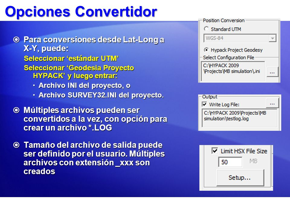 Opciones Convertidor Para conversiones desde Lat-Long a X-Y, puede: Para conversiones desde Lat-Long a X-Y, puede: Seleccionar estándar UTM Selecciona