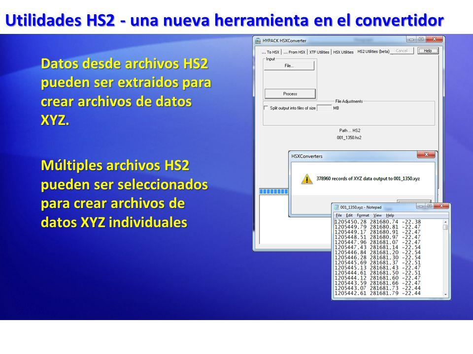 Utilidades HS2 - una nueva herramienta en el convertidor Datos desde archivos HS2 pueden ser extraidos para crear archivos de datos XYZ. Múltiples arc