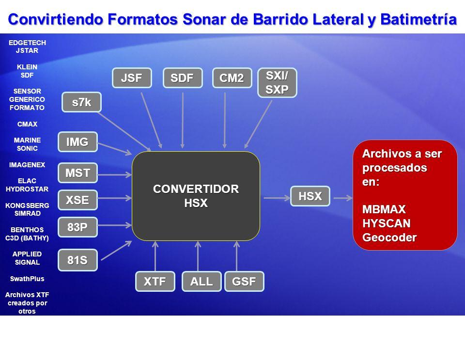 Convirtiendo Formatos Sonar de Barrido Lateral y Batimetría CONVERTIDOR HSX MST XSE 83P SDF HSX Archivos a ser procesados en: MBMAXHYSCANGeocoder EDGE