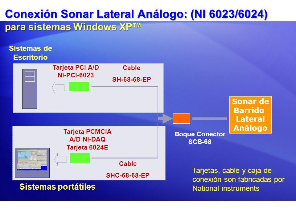 Conexión Sonar Lateral Análogo: (NI 6023/6024) para sistemas Windows XP Sistemas de Escritorio Sistemas portátiles Tarjeta PCI A/D NI-PCI-6023 Cable S