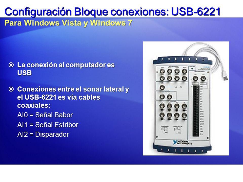 Configuración Bloque conexiones: USB-6221 Para Windows Vista y Windows 7 La conexión al computador es USB La conexión al computador es USB Conexiones