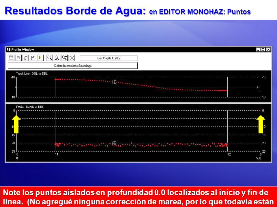 Resultados Borde de Agua: en EDITOR MONOHAZ: Puntos Note los puntos aislados en profundidad 0.0 localizados al inicio y fin de línea.