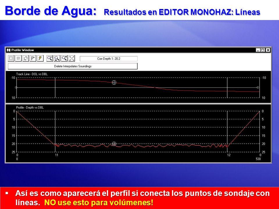 Borde de Agua: Resultados en EDITOR MONOHAZ: Líneas Así es como aparecerá el perfil si conecta los puntos de sondaje con líneas.