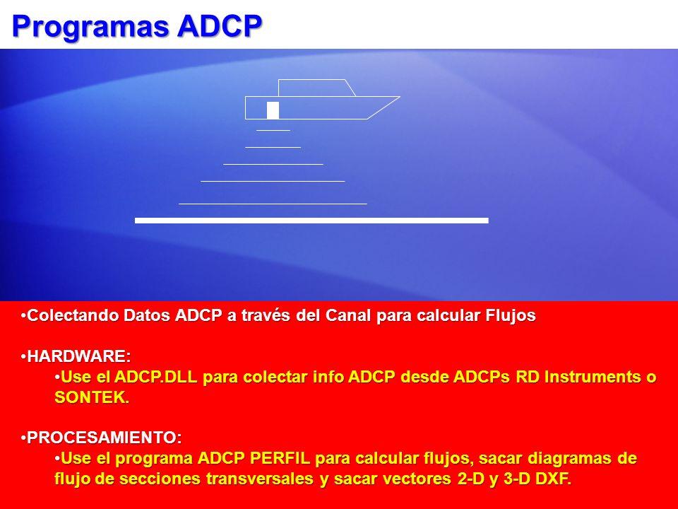Programas ADCP Colectando Datos ADCP a través del Canal para calcular FlujosColectando Datos ADCP a través del Canal para calcular Flujos HARDWARE:HAR