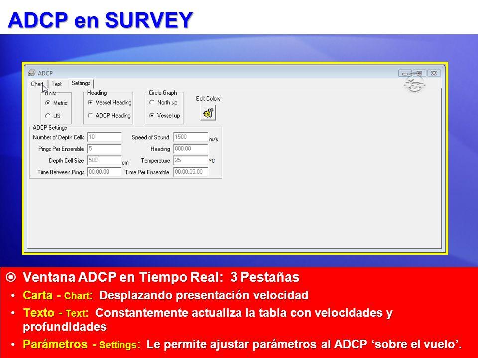 ADCP en SURVEY Ventana ADCP en Tiempo Real: 3 Pestañas Ventana ADCP en Tiempo Real: 3 Pestañas Carta - Chart : Desplazando presentación velocidadCarta