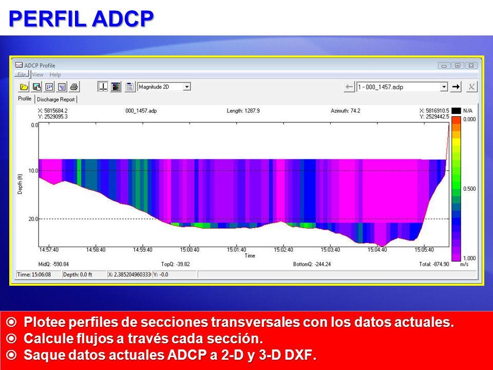 PERFIL ADCP Plotee perfiles de secciones transversales con los datos actuales. Plotee perfiles de secciones transversales con los datos actuales. Calc