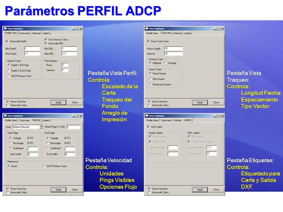 Parámetros PERFIL ADCP Pestaña Vista Perfil: Controla: Escalado de la Carta Traqueo del Fondo Arreglo de Impresión Pestaña Vista Traqueo: Controla: Lo