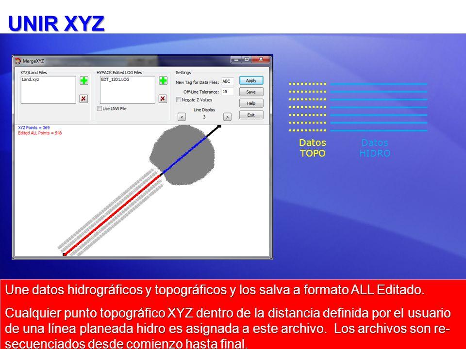 UNIR XYZ Datos HIDRO Datos TOPO Une datos hidrográficos y topográficos y los salva a formato ALL Editado.
