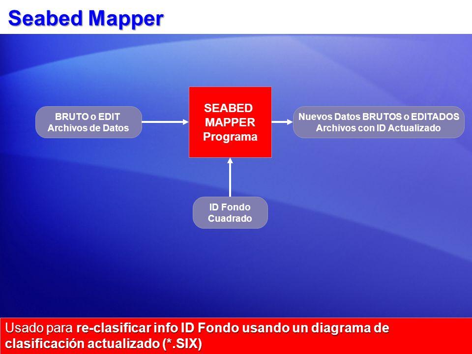 Seabed Mapper Usado para re-clasificar info ID Fondo usando un diagrama de clasificación actualizado (*.SIX) SEABED MAPPER Programa BRUTO o EDIT Archivos de Datos ID Fondo Cuadrado Nuevos Datos BRUTOS o EDITADOS Archivos con ID Actualizado