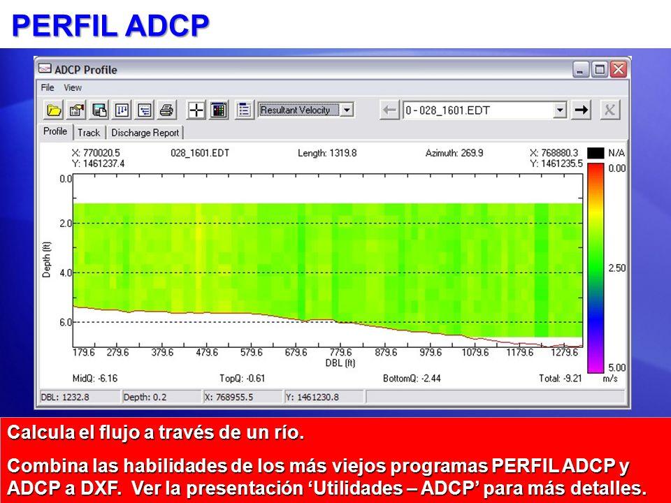 PERFIL ADCP Calcula el flujo a través de un río.