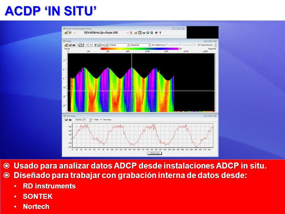 ACDP IN SITU Usado para analizar datos ADCP desde instalaciones ADCP in situ.