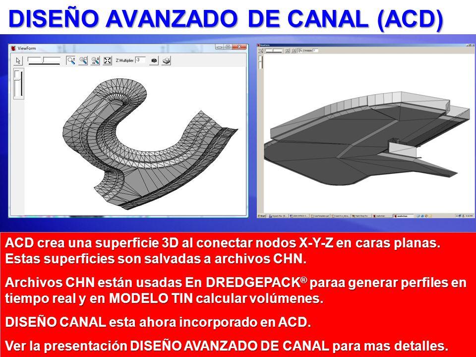 DISEÑO AVANZADO DE CANAL (ACD) ACD crea una superficie 3D al conectar nodos X-Y-Z en caras planas.