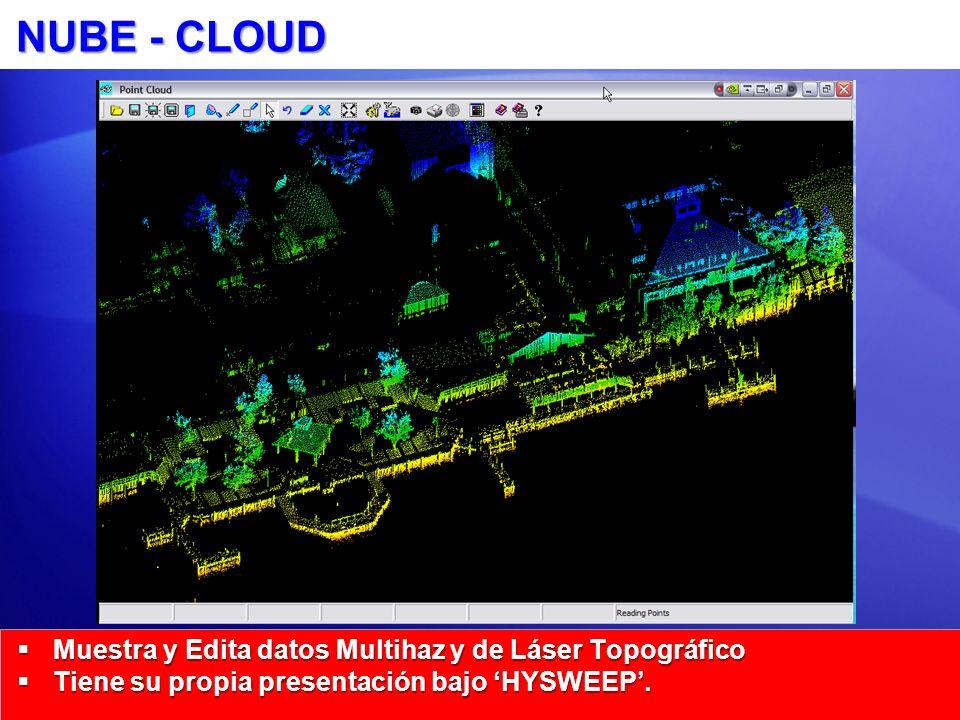 NUBE - CLOUD Muestra y Edita datos Multihaz y de Láser Topográfico Muestra y Edita datos Multihaz y de Láser Topográfico Tiene su propia presentación bajo HYSWEEP.
