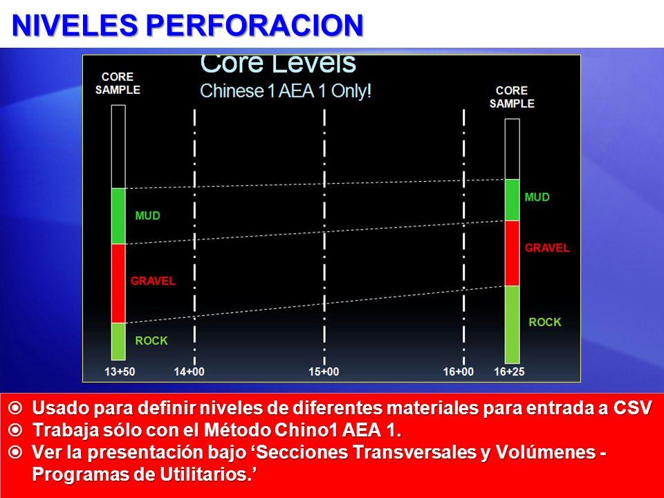 NIVELES PERFORACION Usado para definir niveles de diferentes materiales para entrada a CSV Usado para definir niveles de diferentes materiales para entrada a CSV Trabaja sólo con el Método Chino1 AEA 1.