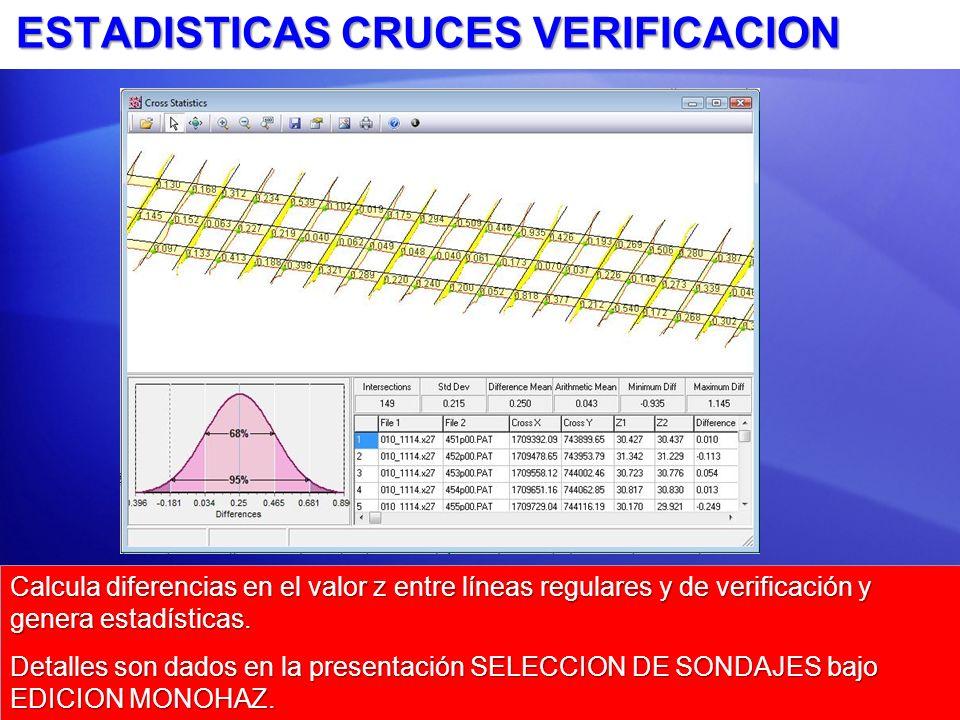 ESTADISTICAS CRUCES VERIFICACION Calcula diferencias en el valor z entre líneas regulares y de verificación y genera estadísticas.