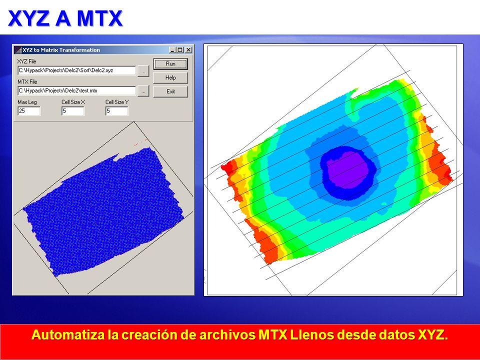 XYZ A MTX Automatiza la creación de archivos MTX Llenos desde datos XYZ.