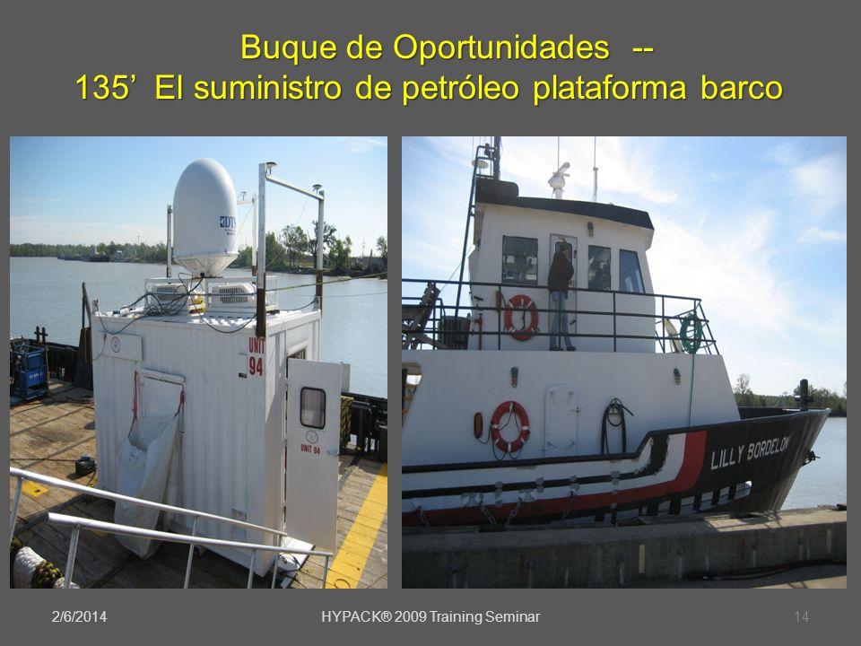 2/6/2014HYPACK® 2009 Training Seminar14 Buque de Oportunidades -- 135 El suministro de petróleo plataforma barco Buque de Oportunidades -- 135 El sumi