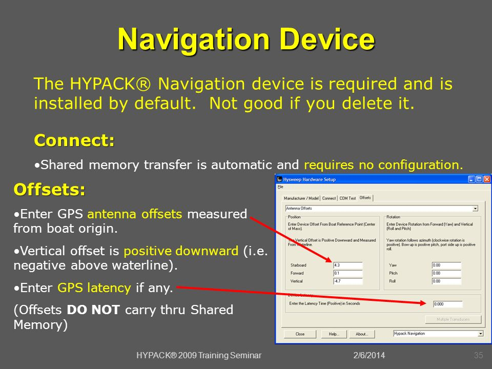 2/6/2014HYPACK® 2009 Training Seminar35 Navigation Device Offsets: Enter GPS antenna offsets measured from boat origin. Vertical offset is positive do