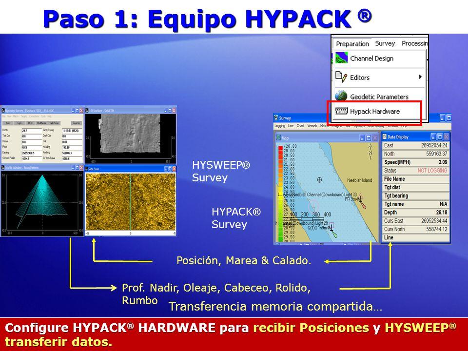 Paso 1: Equipo HYPACK ® Configure HYPACK ® HARDWARE para recibir Posiciones y HYSWEEP ® transferir datos. Posición, Marea & Calado. Prof. Nadir, Oleaj