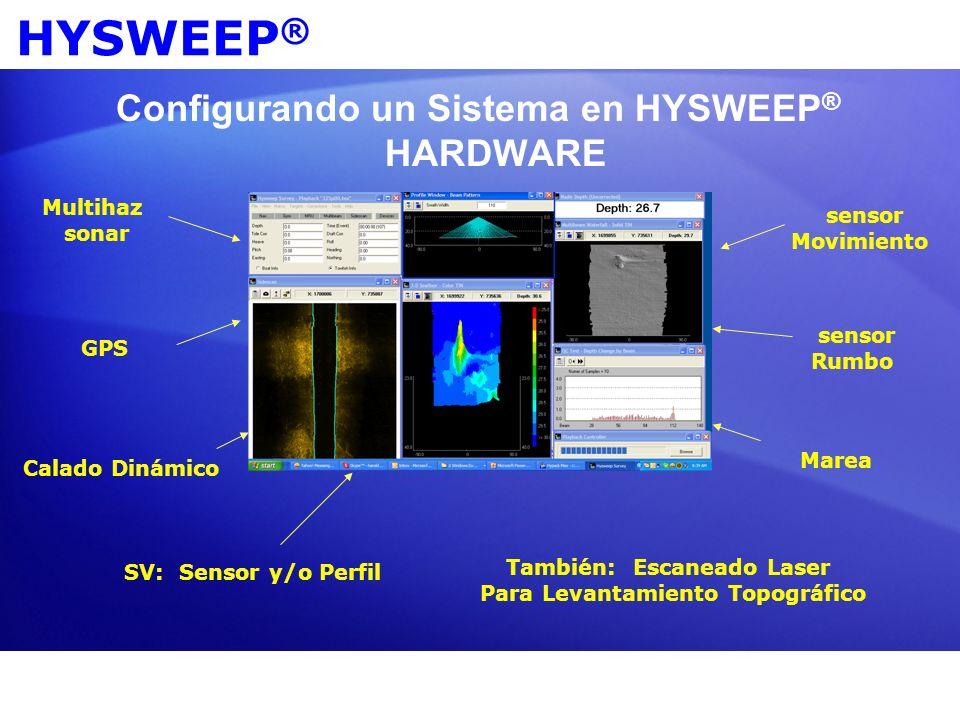 HYSWEEP ® Configurando un Sistema en HYSWEEP ® HARDWARE Multihaz sonar GPS sensor Movimiento sensor Rumbo Calado Dinámico Marea También: Escaneado Las