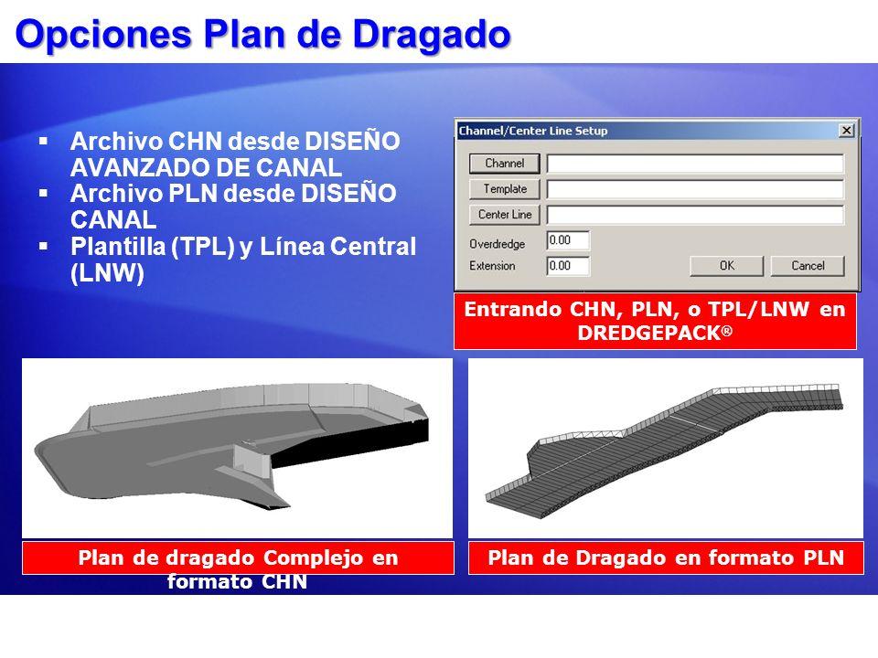 Opciones Plan de Dragado Archivo CHN desde DISEÑO AVANZADO DE CANAL Archivo PLN desde DISEÑO CANAL Plantilla (TPL) y Línea Central (LNW) Plan de draga