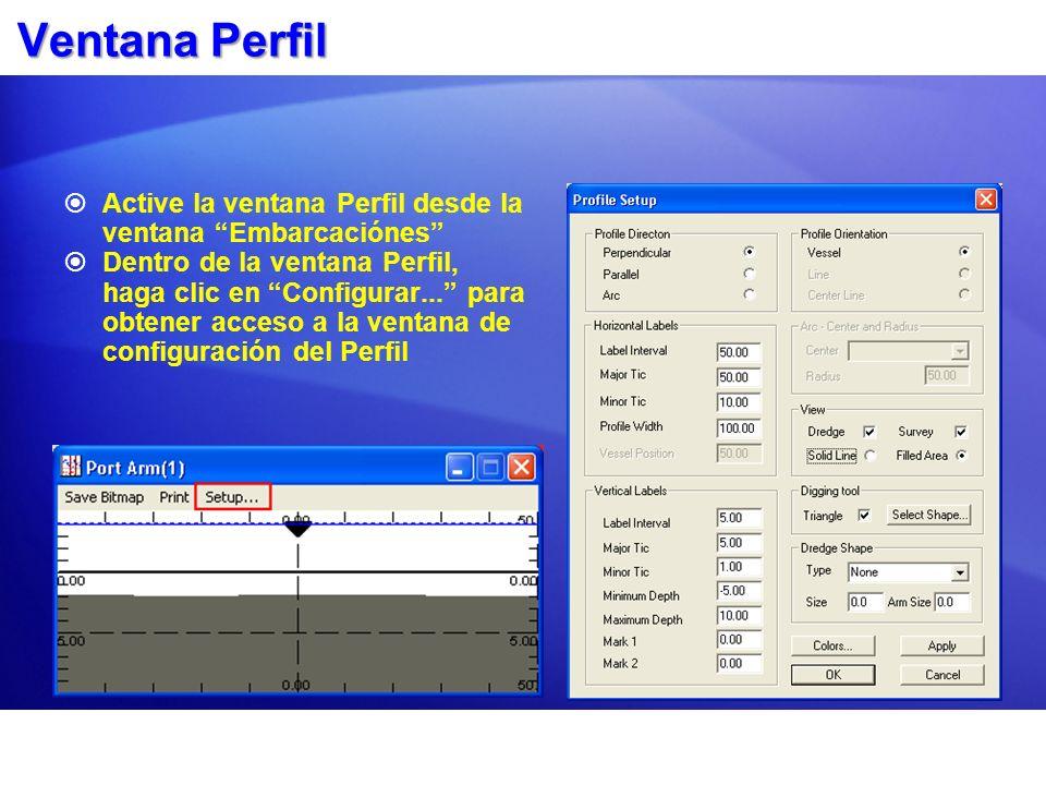 Ventana Perfil Active la ventana Perfil desde la ventana Embarcaciónes Dentro de la ventana Perfil, haga clic en Configurar... para obtener acceso a l