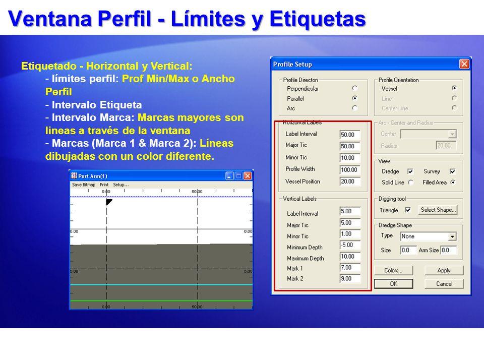 Ventana Perfil - Límites y Etiquetas Etiquetado - Horizontal y Vertical: - límites perfil: Prof Min/Max o Ancho Perfil - Intervalo Etiqueta - Interval