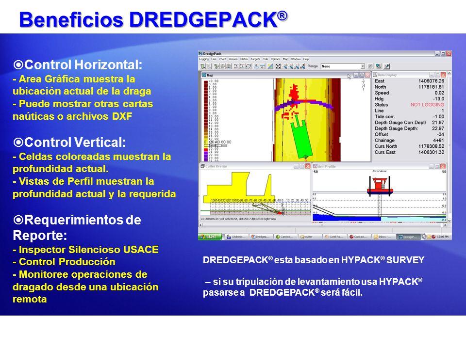 Beneficios DREDGEPACK ® Control Horizontal: - Area Gráfica muestra la ubicación actual de la draga - Puede mostrar otras cartas naúticas o archivos DX