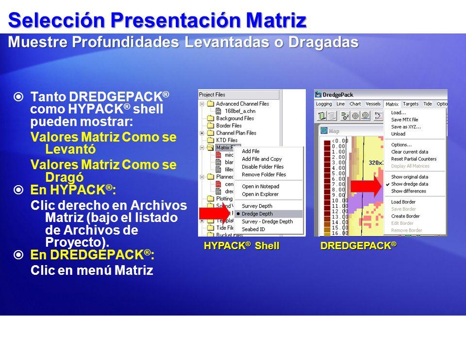 Selección Presentación Matriz Muestre Profundidades Levantadas o Dragadas Tanto DREDGEPACK ® como HYPACK ® shell pueden mostrar: Valores Matriz Como s