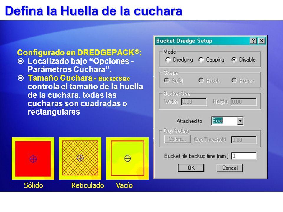 Marcando una Posición de la Cuchara Actualmente la tecla F3 del teclado o un interruptor especial es usado para marcar la posición de la cuchara.