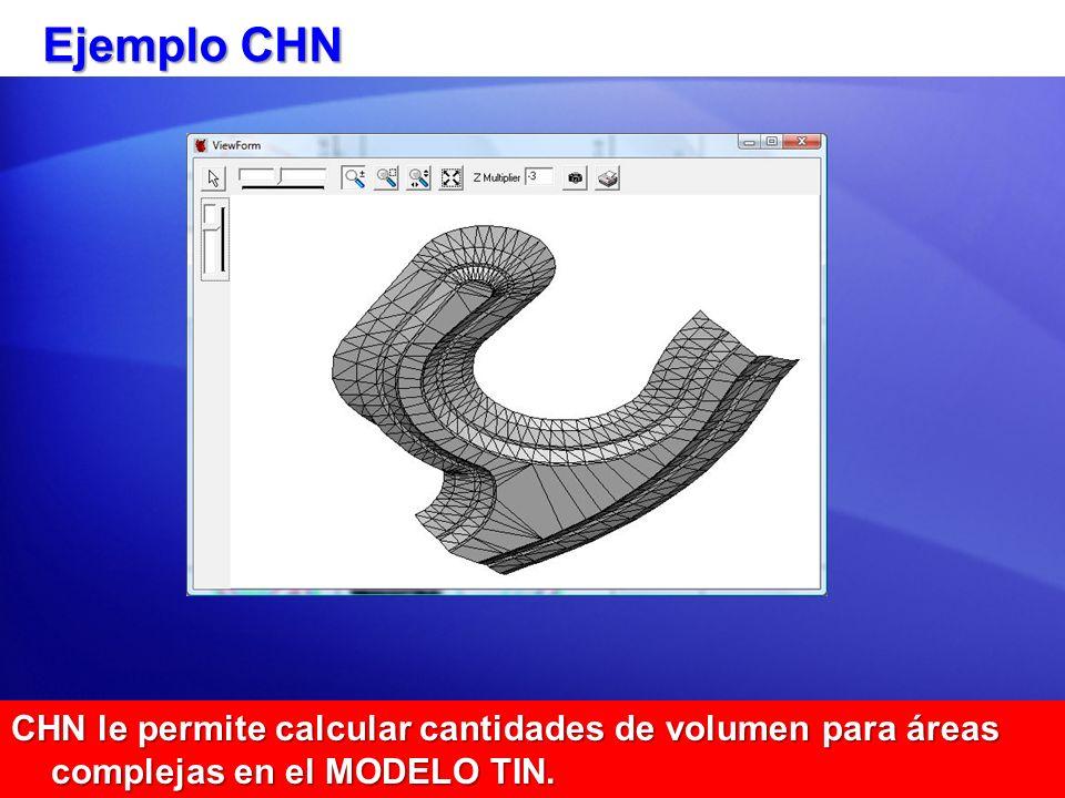 Ejemplo CHN CHN le permite calcular cantidades de volumen para áreas complejas en el MODELO TIN.