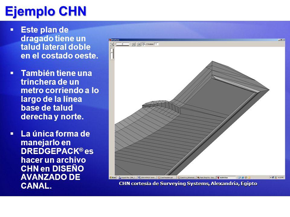 Ejemplo CHN Este plan de dragado tiene un talud lateral doble en el costado oeste. También tiene una trinchera de un metro corriendo a lo largo de la
