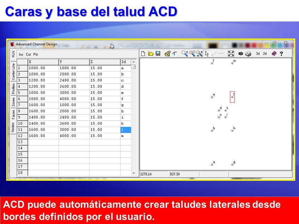 Caras y base del talud ACD ACD puede automáticamente crear taludes laterales desde bordes definidos por el usuario.