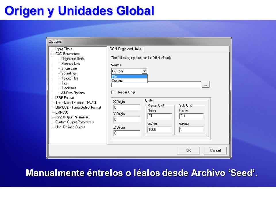 Origen y Unidades Global Manualmente éntrelos o léalos desde Archivo Seed.