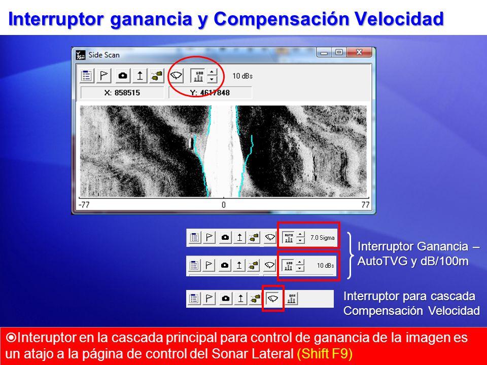 Interruptor ganancia y Compensación Velocidad Interuptor en la cascada principal para control de ganancia de la imagen es un atajo a la página de cont