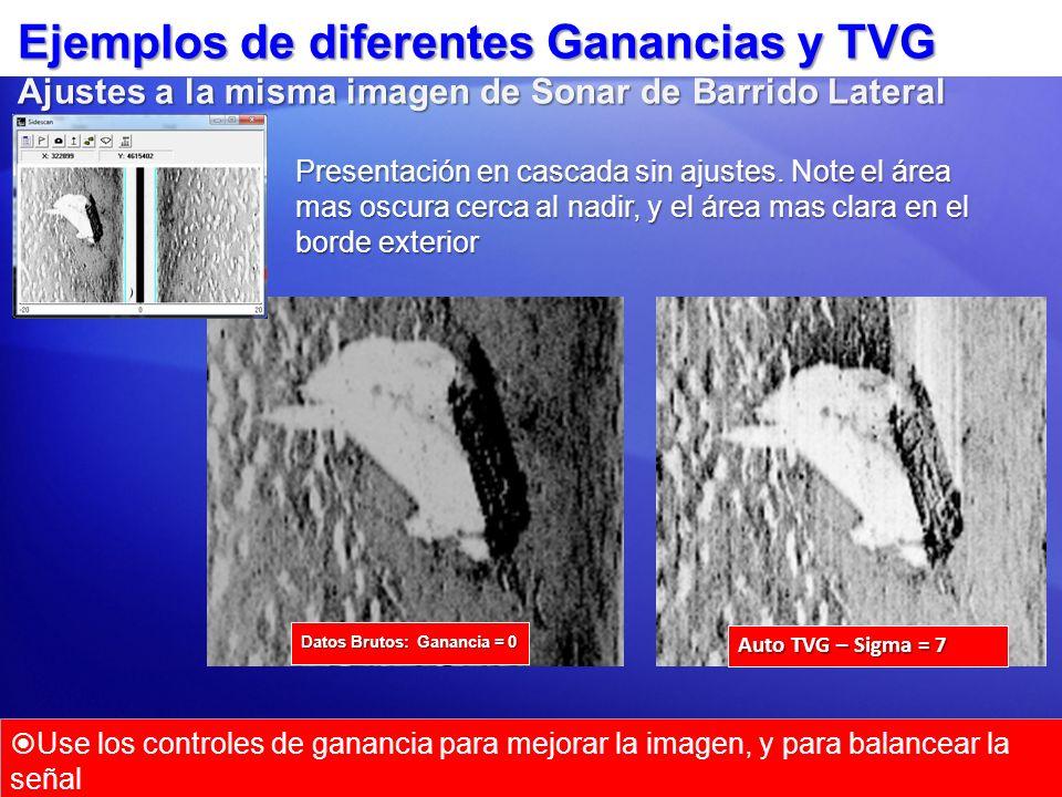 Ejemplos de diferentes Ganancias y TVG Ajustes a la misma imagen de Sonar de Barrido Lateral Auto TVG – Sigma = 7 Datos Brutos: Ganancia = 0 Use los c