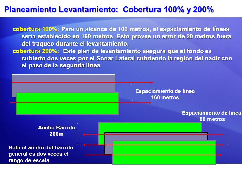 Planeamiento Levantamiento: Cobertura 100% y 200% cobertura 100%: Para un alcance de 100 metros, el espaciamiento de líneas sería establecido en 160 m