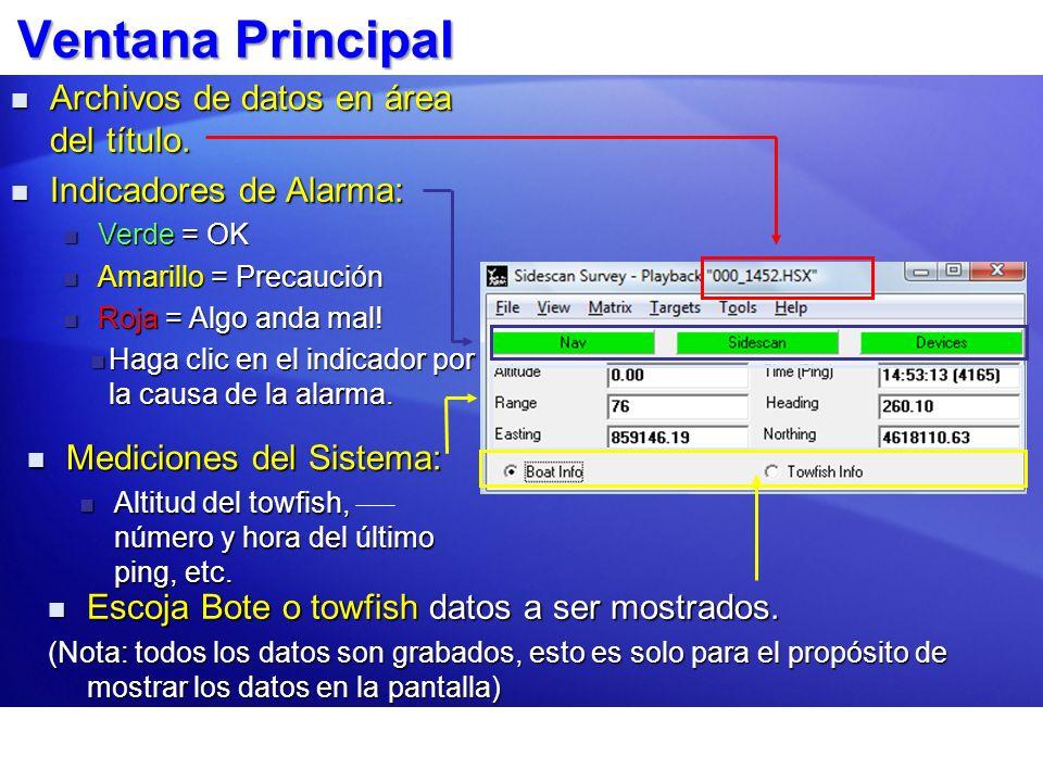 Ventana Principal Archivos de datos en área del título. Archivos de datos en área del título. Indicadores de Alarma: Indicadores de Alarma: Verde = OK