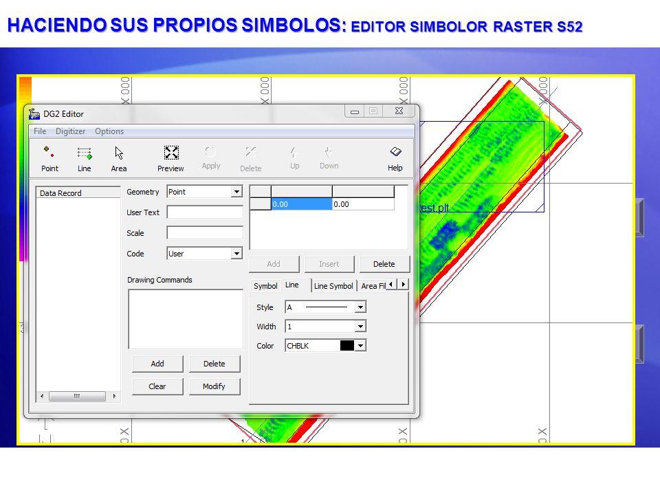HACIENDO SUS PROPIOS SIMBOLOS: EDITOR SIMBOLOR RASTER S52 Punto Pivote ID Símbolo: 6 letras y 2 dígitos Clic en Aplicar después de cambiar el punto pi