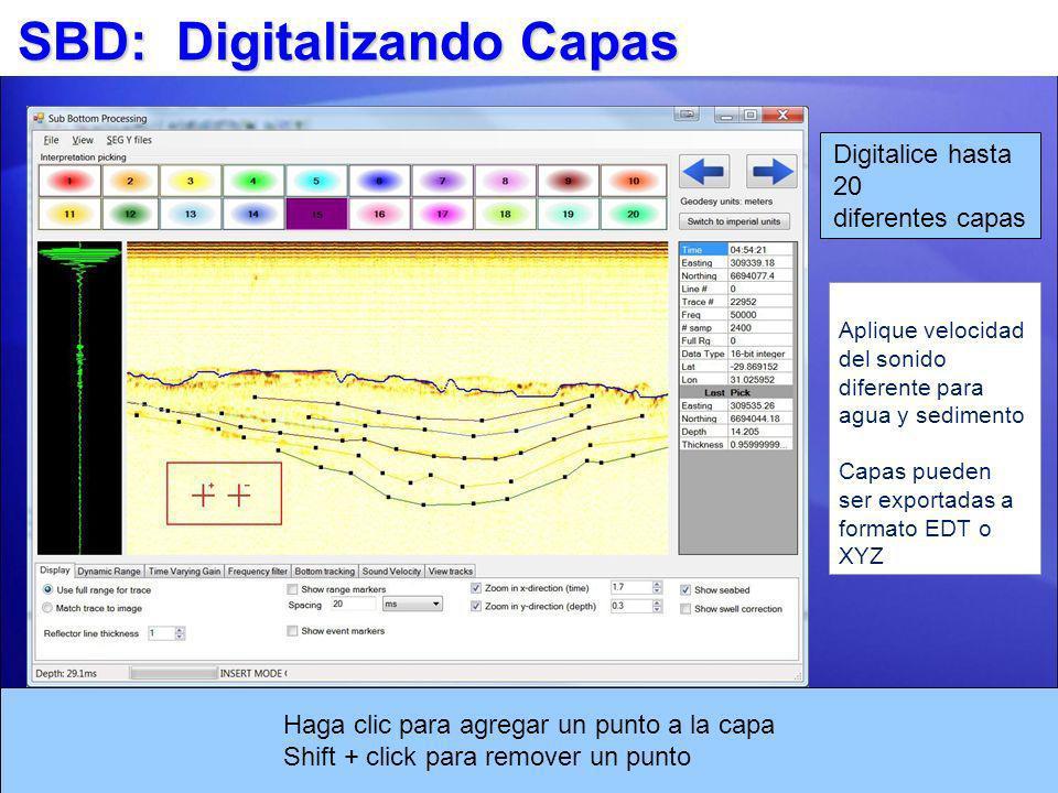 SBD: Digitalizando Capas Digitalice hasta 20 diferentes capas Haga clic para agregar un punto a la capa Shift + click para remover un punto Aplique ve