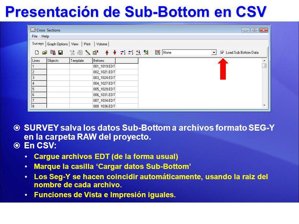 Presentación de Sub-Bottom en CSV SURVEY salva los datos Sub-Bottom a archivos formato SEG-Y en la carpeta RAW del proyecto. En CSV: Cargue archivos E