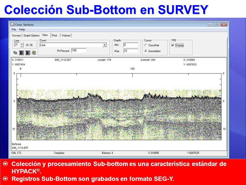 *Dependiendo en el sistema Sistemas Sub-Bottom SYQWEST Stratabox Programa Control Fabricante (Sistema dependiente) SUBBOT.DLL HYPACK ® SURVEY HYPACK ® SURVEY SUB- BOTTOM ANALOGO SUBBOT.DLL Cajas A/D Benthos C3D INNOMAR SES-2000 Edgetech GeoAcoustics Un driver de interfaz consistente para todos los sistemas
