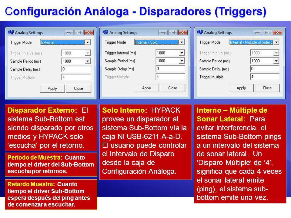 Configuración Análoga - Disparadores (Triggers) Disparador Externo: El sistema Sub-Bottom est siendo disparado por otros medios y HYPACK solo escucha