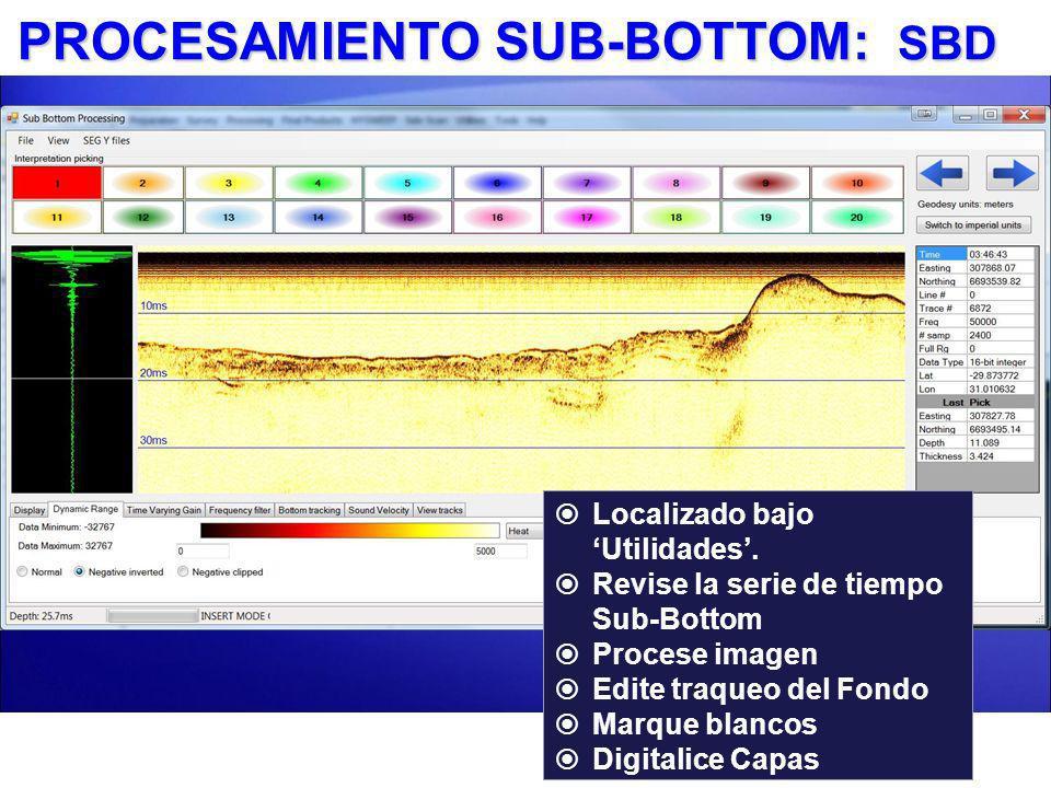 PROCESAMIENTO SUB-BOTTOM: SBD Localizado bajo Utilidades. Revise la serie de tiempo Sub-Bottom Procese imagen Edite traqueo del Fondo Marque blancos D