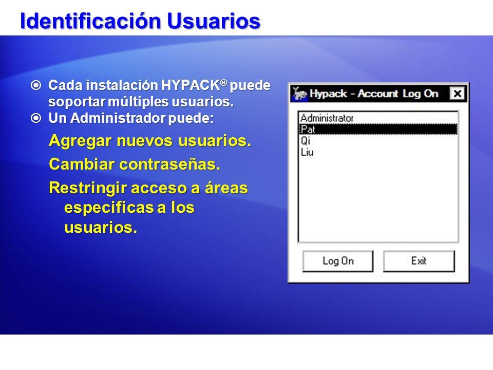 Identificación Usuarios Cada instalación HYPACK ® puede soportar múltiples usuarios.