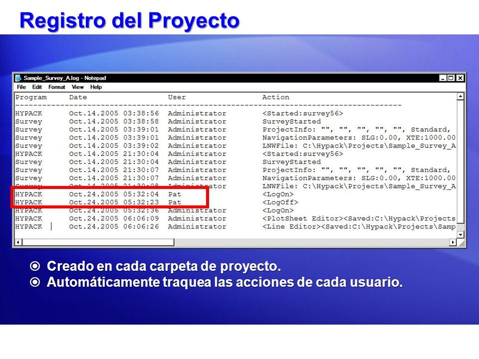 Registro del Proyecto Creado en cada carpeta de proyecto.