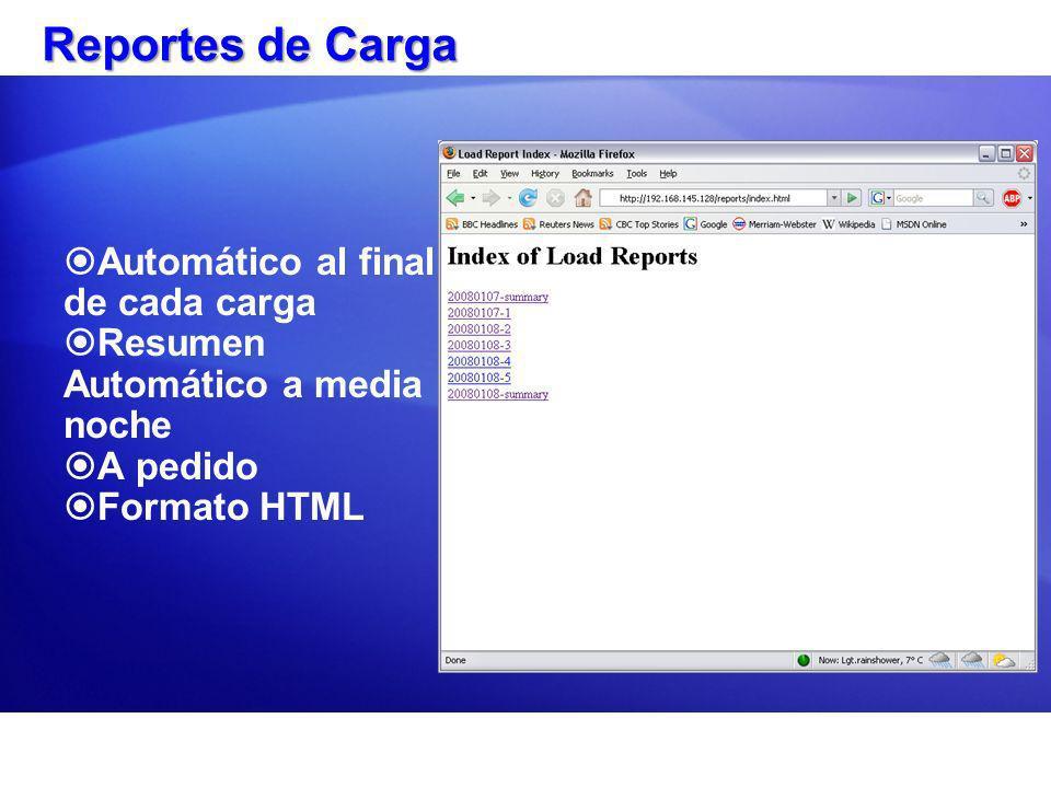 Reportes de Carga Automático al final de cada carga Resumen Automático a media noche A pedido Formato HTML