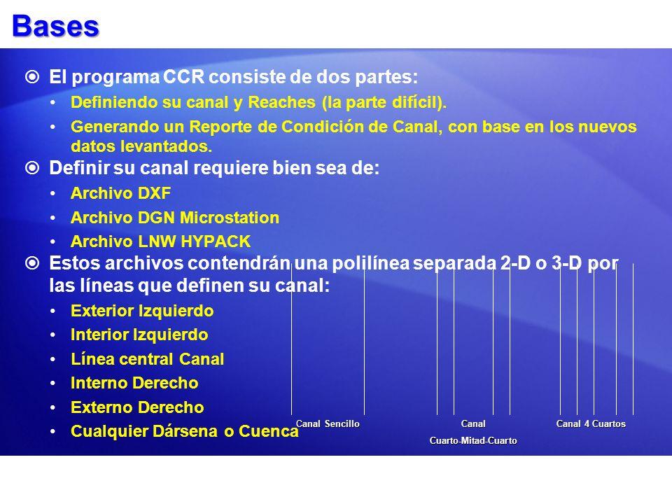Bases El programa CCR consiste de dos partes: Definiendo su canal y Reaches (la parte difícil).