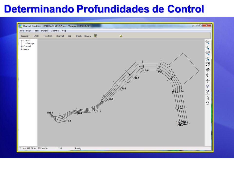 Profundidades de control y Bajos Profundidades mínimas para las secciones de cada reach son determinadas.Profundidades mínimas para las secciones de cada reach son determinadas.